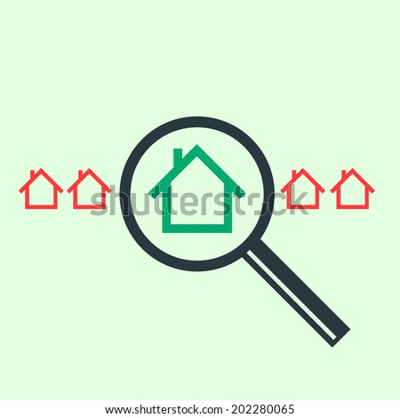 vector searching for house of home with magnifying glass real estate icon | modern flat design white pictogram isolated on green background - stock vector