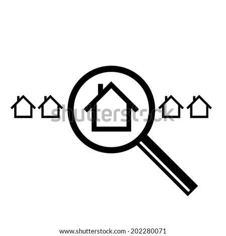 vector searching for house of home with magnifying glass real estate icon | modern flat design black pictogram isolated on white background - stock vector
