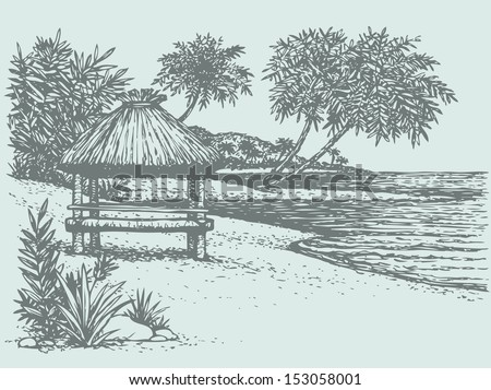 Vector seascape. Palm trees near the bungalow on the seashore  - stock vector