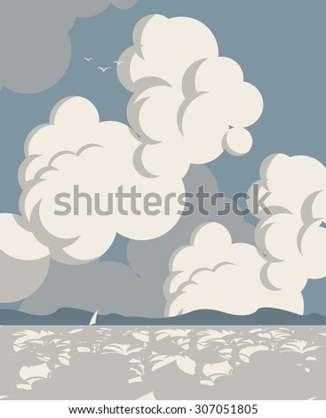 Vector seascape with clouds sailboat and mountains - stock vector