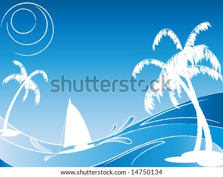 vector seascape with silhouettes of palm-trees and sailing boat - stock vector