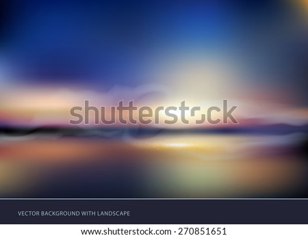 vector seascape with sunset - stock vector