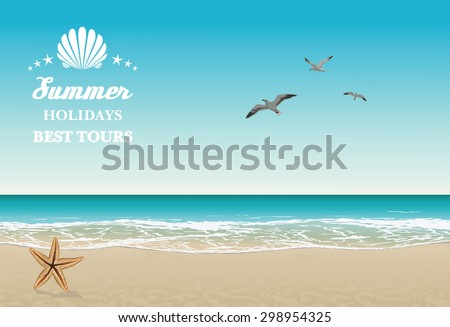 Vector seaside view poster with tropical beach, sea-gulls and lettering - stock vector