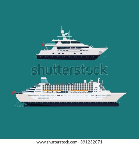 Vector seaway ocean transport passenger ships. Cool transatlantic cruise ship and motor yacht boat in trendy flat design - stock vector