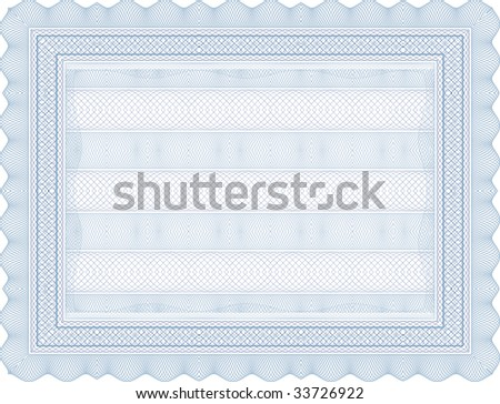 vector secure blank certificate template - stock vector