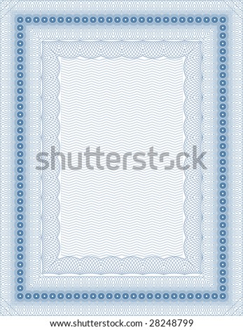 Vector secure blank guilloche certificate - stock vector