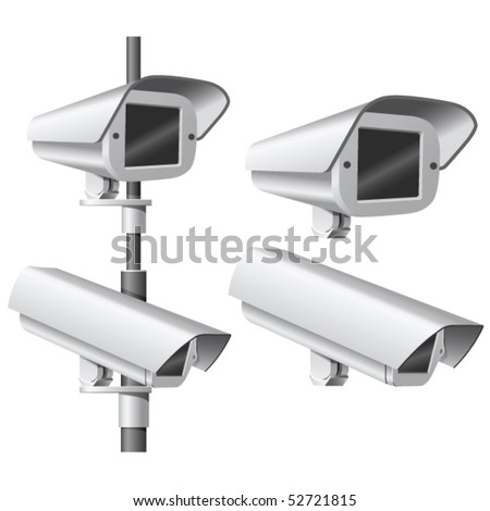 Vector Security Camera isolated on the white - stock vector