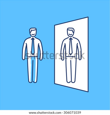 Vector self awareness skills icon of businessman standing in front of the mirror | modern flat design soft skills linear illustration and infographic on blue background - stock vector