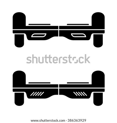 vector self balancing hover board black symbol - stock vector