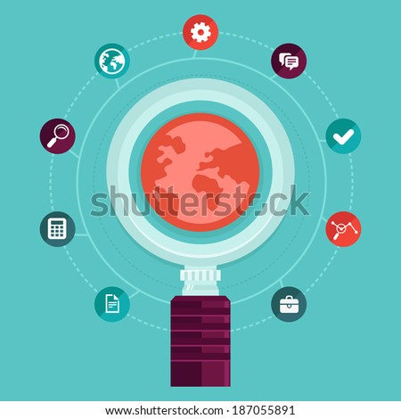 Vector seo concept - online business and search engine optimization -  icons and design elements in flat style - stock vector