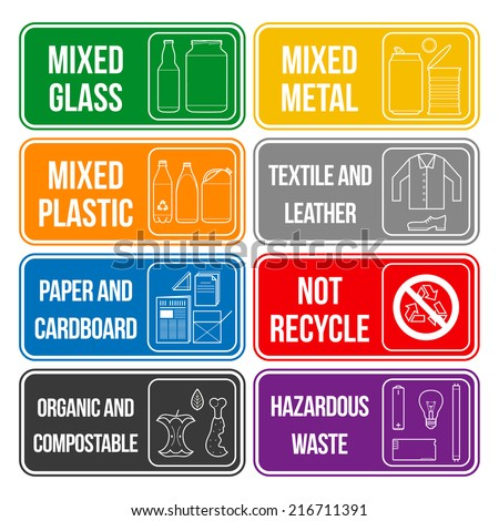 vector separate collection of waste labels set - stock vector