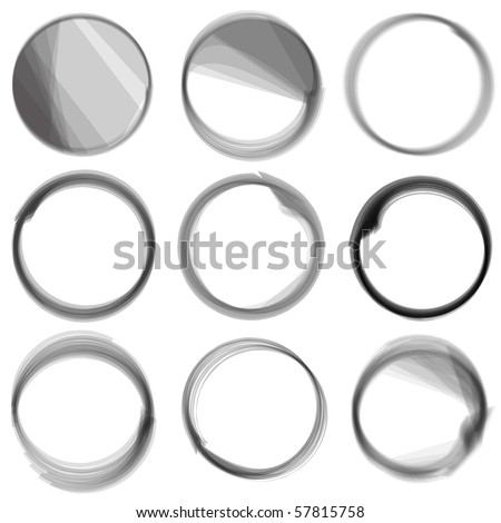 Vector - Series of hand drawn ink circles. - stock vector