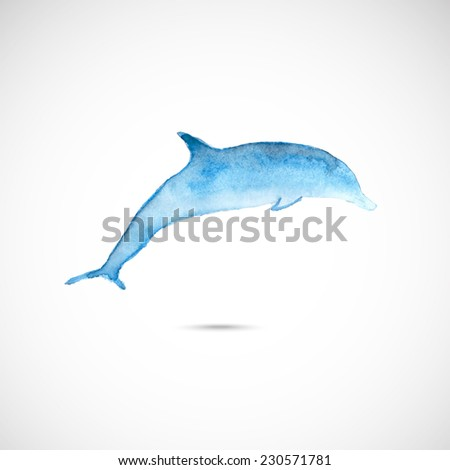 Vector  series of watercolor drawn wild animal - dolphin. - stock vector