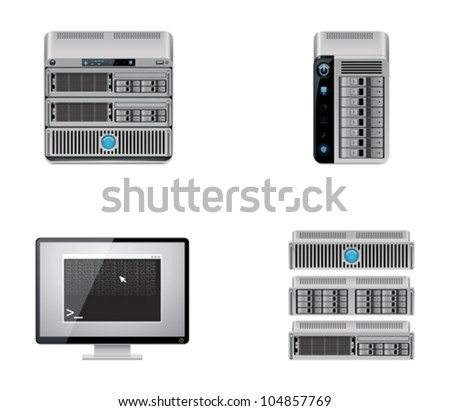 Vector server and computer networking hardware icon set - stock vector