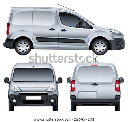 Vector service car. Blank silver commercial vehicle - delivery van. (simple gradients only, no gradient mesh) - stock vector