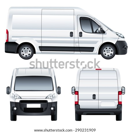 Vector service car template. White blank commercial vehicle - delivery van. (simple gradients only, no gradient mesh) - stock vector