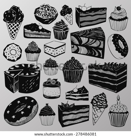 Vector set: A collection of various hand-drawn cakes, sweets, cupcakes and donuts - stock vector