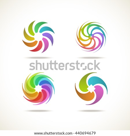 Vector set abstract icon. Sign for logo design template. Original decorative color illustration for print, web