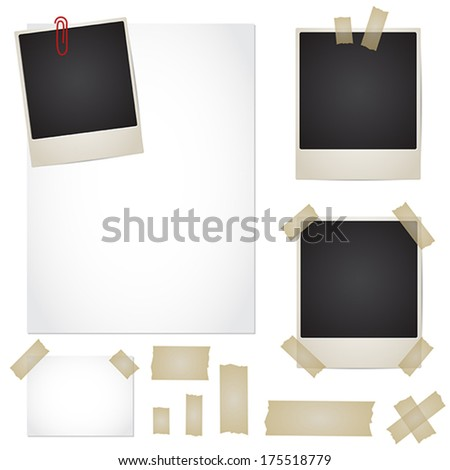 Vector set - adhesive tape, photos, note, paper - stock vector