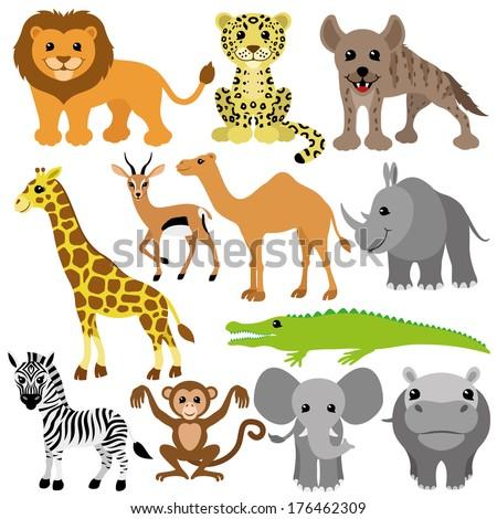 Vector set. African animals. - stock vector