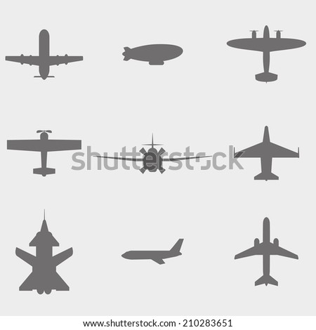 vector set airplane icons dirigible, passenger plane, fighter plane and screw - stock vector