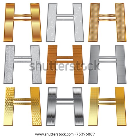 Vector set: Alphabet stylized different natural materials and textures - stock vector