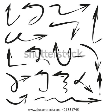 vector set arrows, hand drawn arrows, scribble arrows, sketch arrows - stock vector