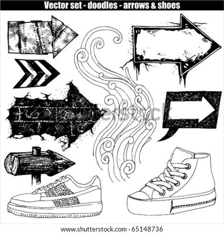 vector set - arrows & shoes - stock vector