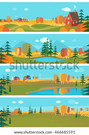 Vector set - Autumn. Horizontal banners with autumn views of nature
