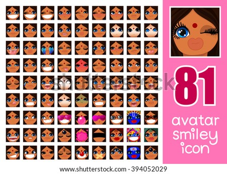 vector SET-81 Avatar Smiley icon for Girl. Asian Pack face Indian girl expressing different emotions and feelings 81 facial expression. Swarthy skin Dark brown hair Blue eyes. Graphics Profile - stock vector