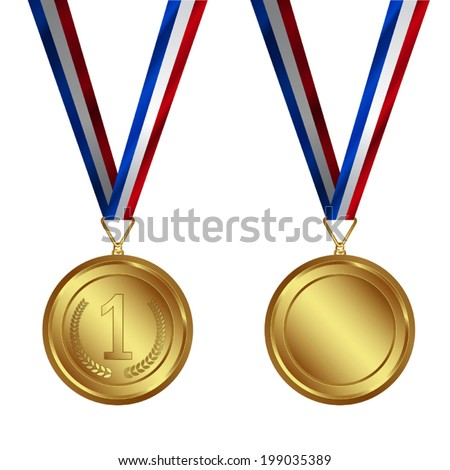 VECTOR SET : Award Medals Set, Silver Medal with ribbon, Blue ribbon, Read Ribbon, Award