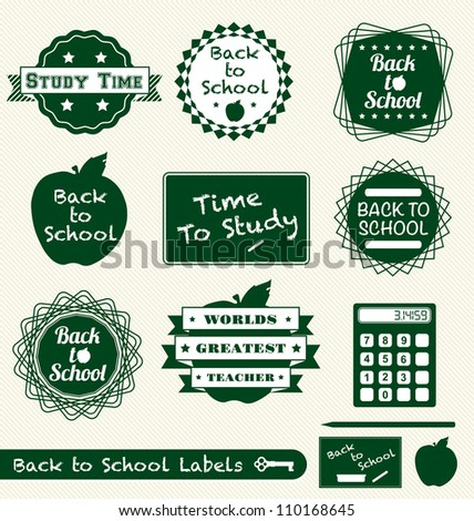 Vector Set: Back to School Labels Stickers and Badges - stock vector