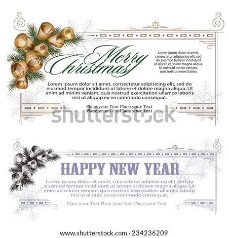 Vector set: banners for Christmas and New Year (for web, sales, coupons and invitations) - stock vector