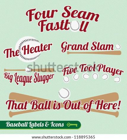 Vector Set: Baseball Bat and Ball Labels and Icons - stock vector