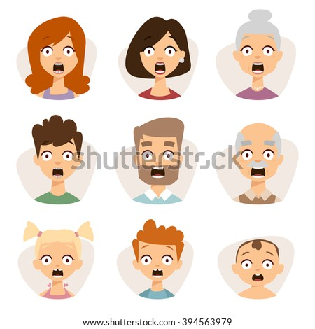 Vector set beautiful emoticons face of people fear avatars. Set of cartoon people head, people emoticons face icon. Cartoon person emoticons face, people face, character people different sexes vector. - stock vector
