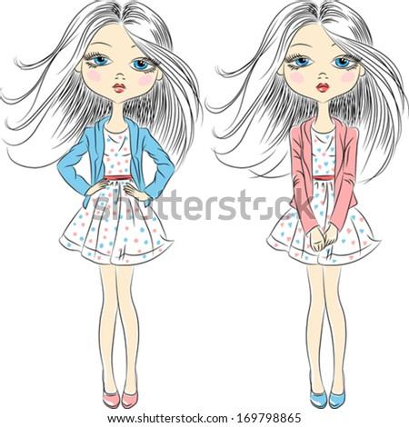 Vector set beautiful fashion girls top model in summer dress - stock vector