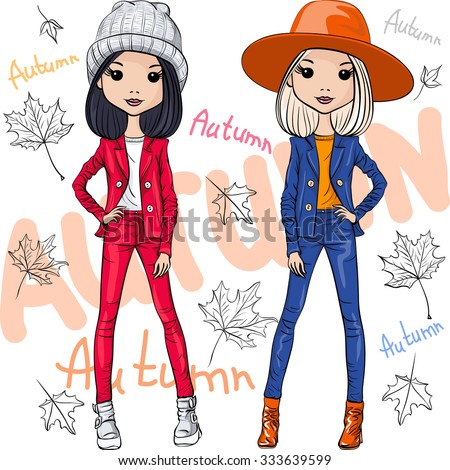 Vector set beautiful fashion hipster girls top models in autumn clothes, hats and boots, jacket and jeans - stock vector
