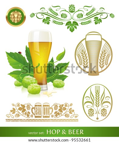 Vector set - beer, hop and brewing - stock vector