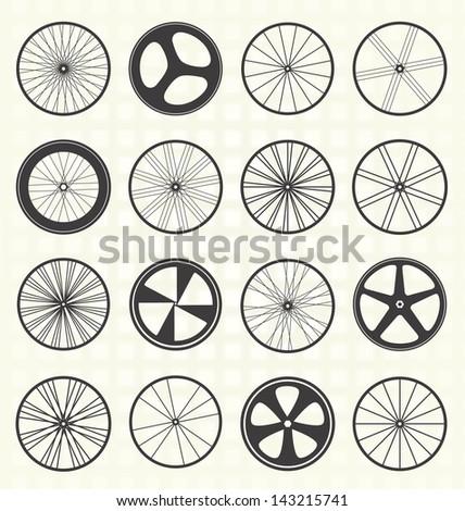 Vector Set: Bike Wheels Collection - stock vector