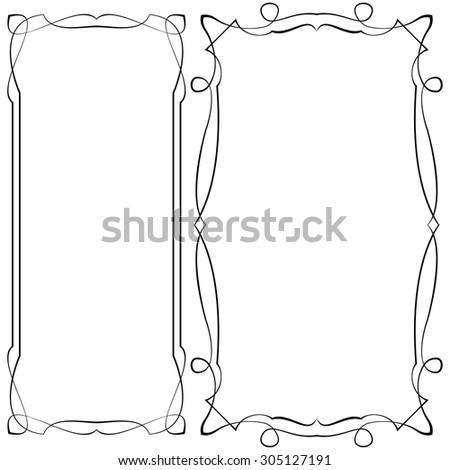vector set black ornate frames on a white background - stock vector
