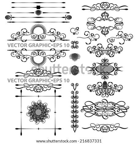 Vector set,black Vector set of black decorative horizontal floral elements, corners, borders, frame .Page decoration - stock vector
