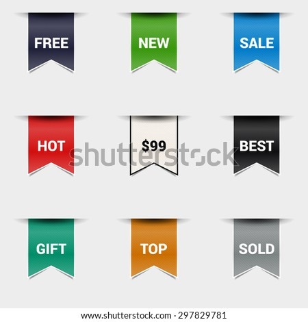 Vector set bookmarks. Collection stickers, price tags. Sale, free, new. - stock vector