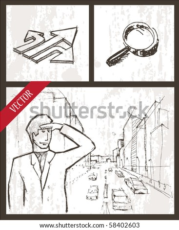 Vector set. business man looking to the future - stock vector