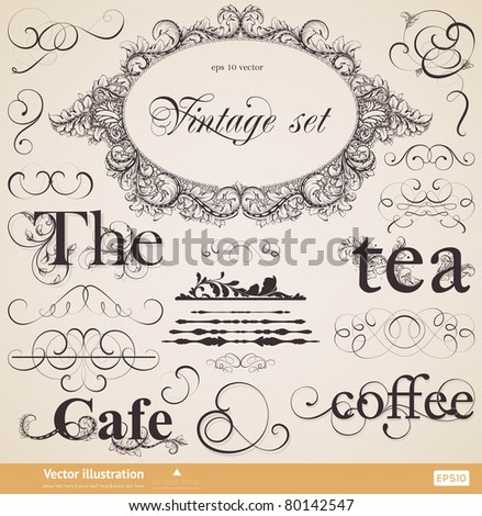 vector set: calligraphic collection design elements and page decoration for retro design - stock vector