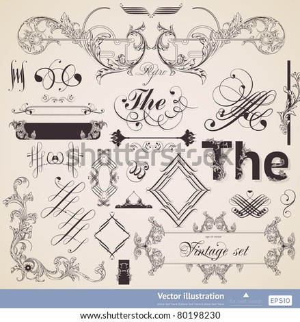 vector set: calligraphic collection elements and page decoration for vintage design - stock vector