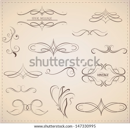 Vector set: calligraphic decorative design elements and page decor.  - stock vector