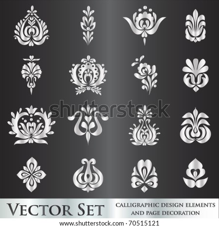 vector set: calligraphic design - stock vector