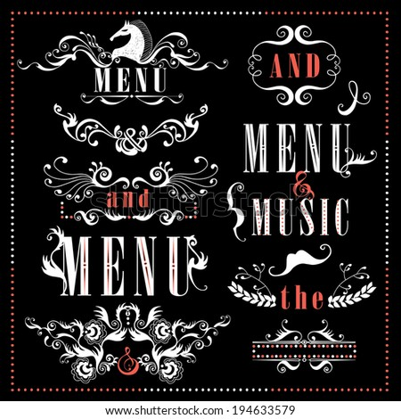 Vector set calligraphic design elements  - stock vector