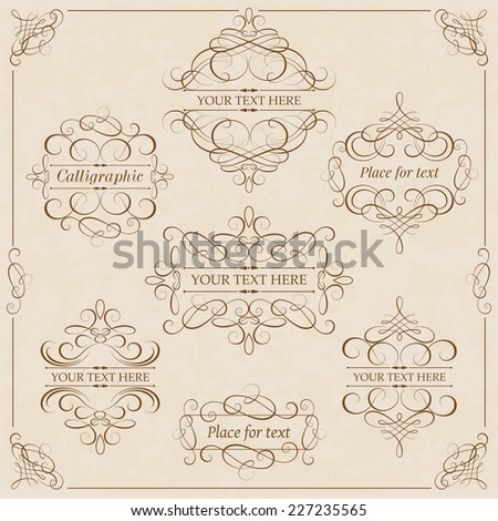 Vector set - calligraphic design elements - stock vector