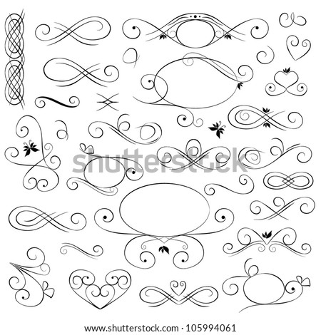 Vector set: calligraphic design elements and page decoration - stock vector